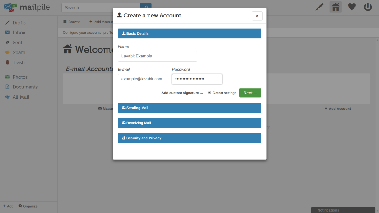 the create a new account screen