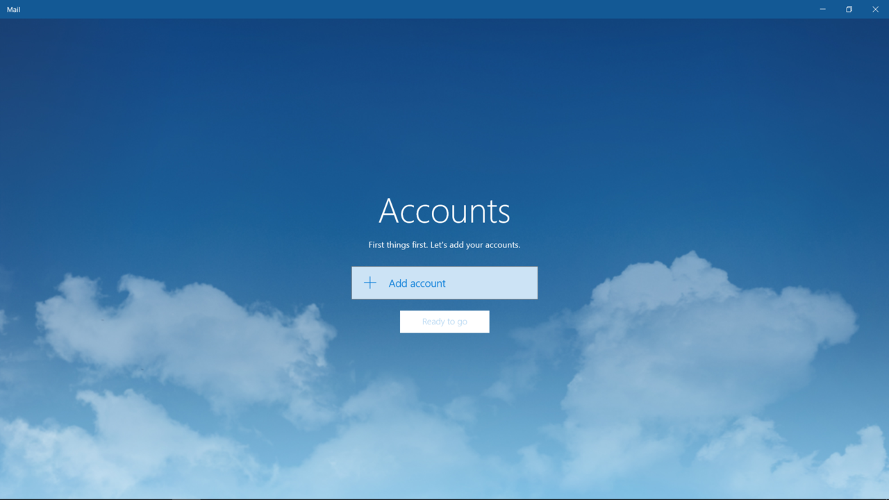 the add account screen